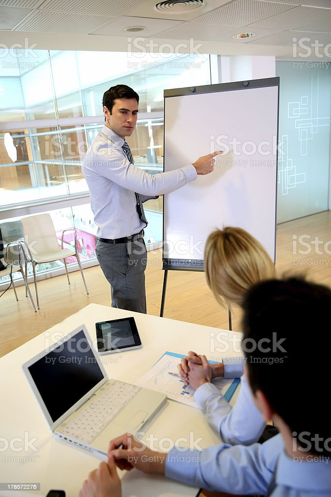 Paperboard and computer for manager in seminar royalty-free stock photo