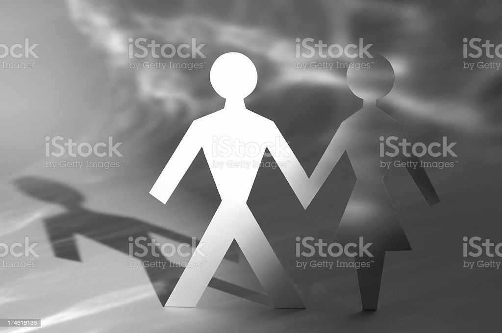 paperchain man and woman royalty-free stock photo