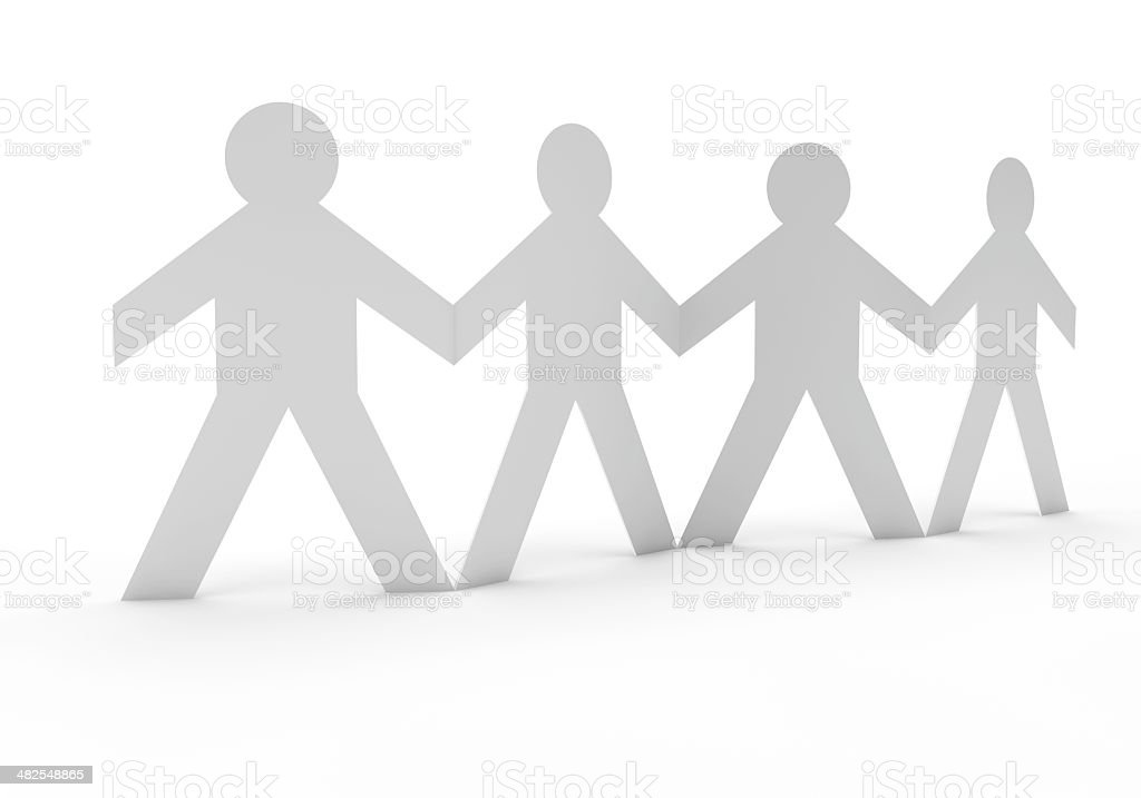 paperchain of people holding hands stock photo
