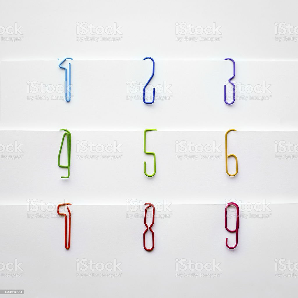 Paperclip numbers royalty-free stock photo