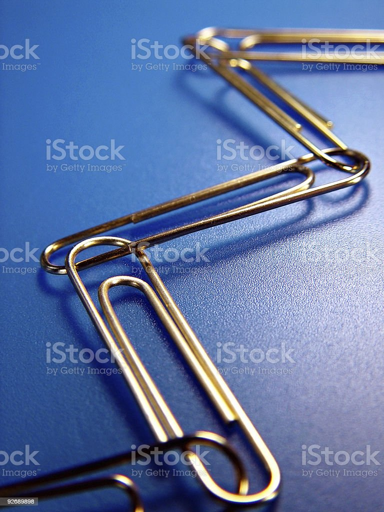 Paperclips, Connected royalty-free stock photo