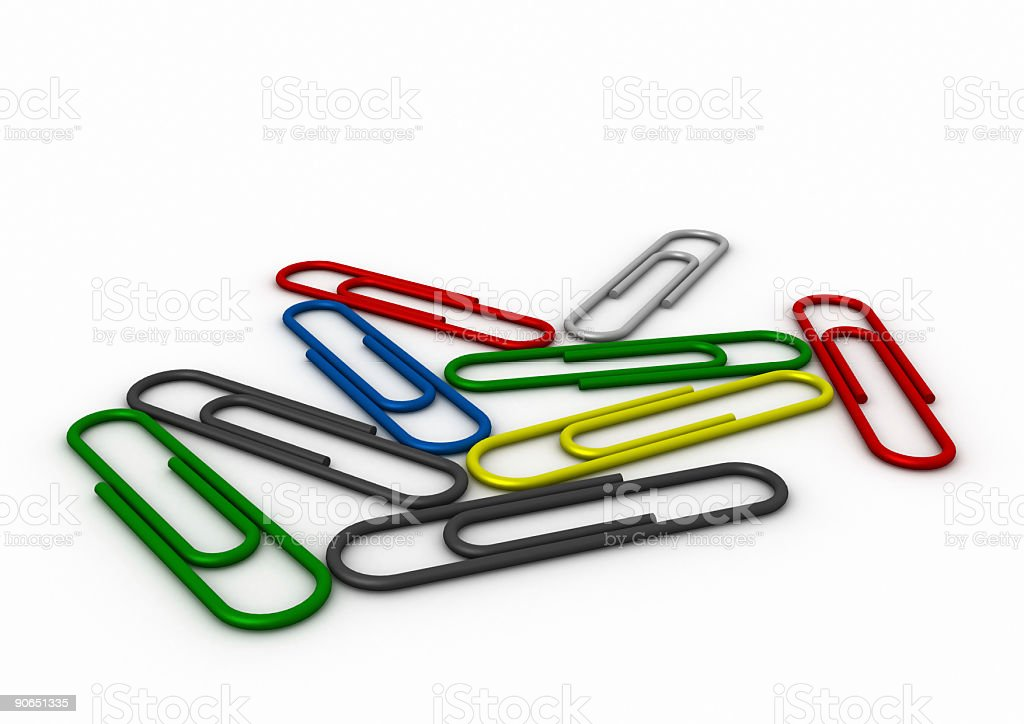3D paperclips royalty-free stock photo