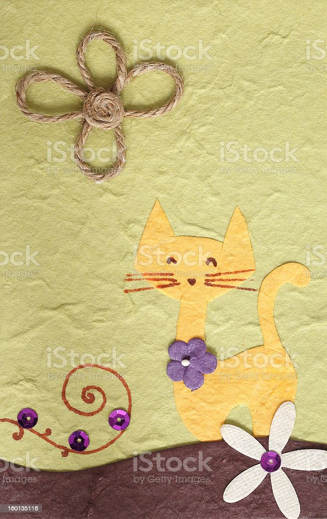 Papercraft Cat and flower green background royalty-free stock photo