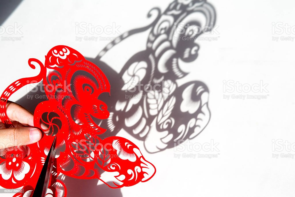 paper-cut decoration for Chinese lunar new year of Monkey stock photo