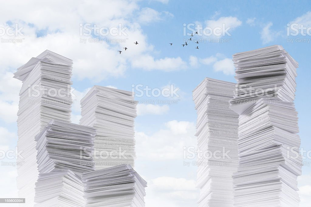 Paperland - a lot of paper mountains royalty-free stock photo