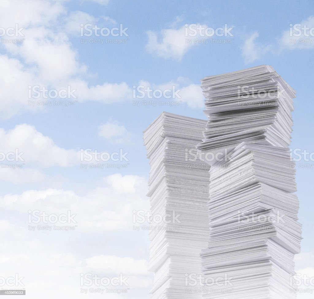Paperland - a lot of paper mountains stock photo