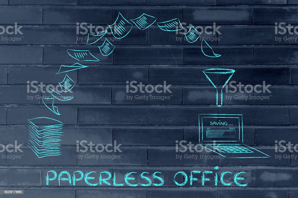 paperless office: scanning documents and turning paper into data stock photo