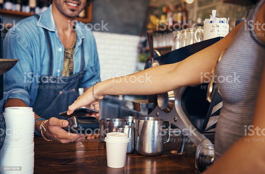 Paperless point of sale stock photo