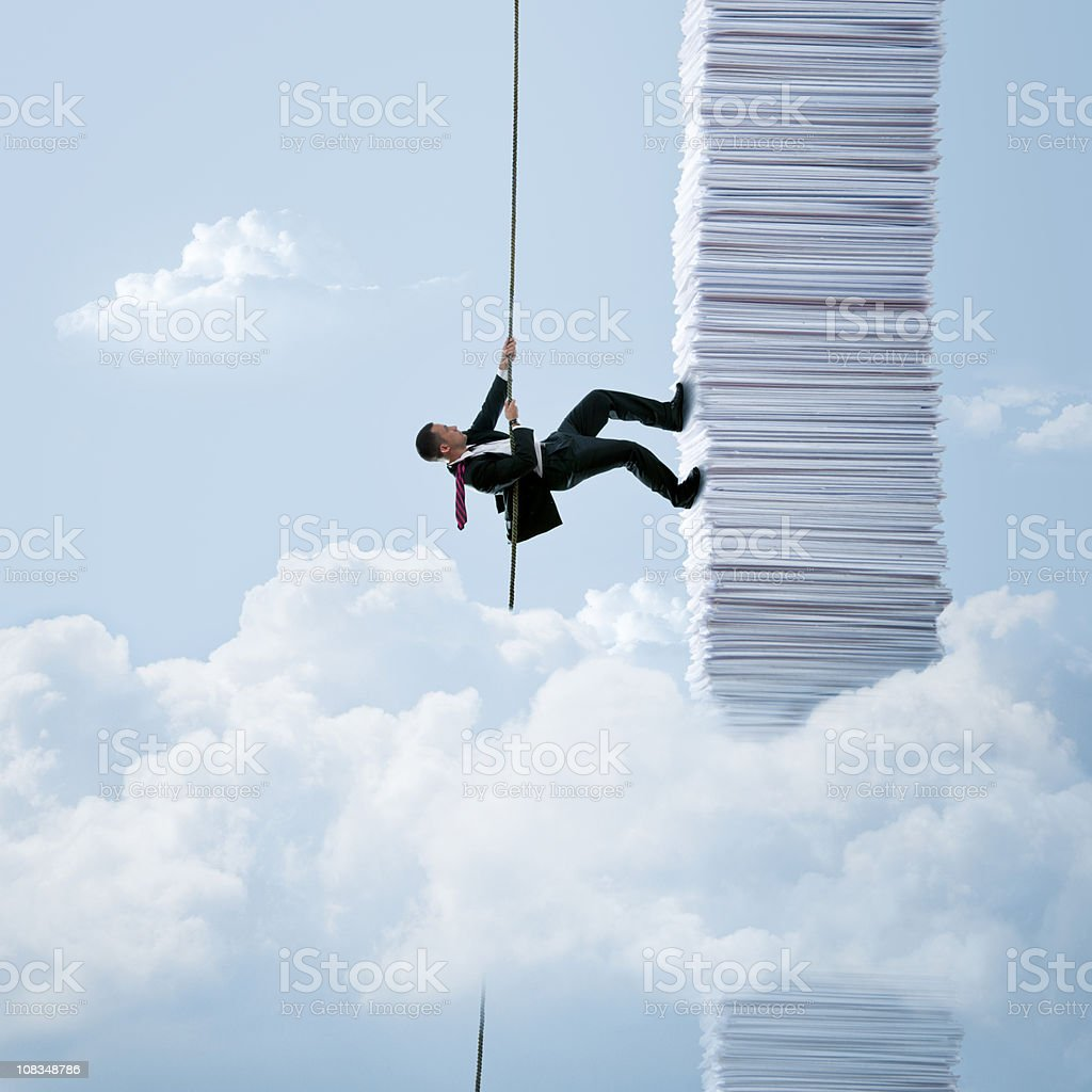 Paperwork climbing stock photo