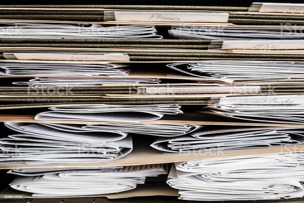 paperwork files stock photo