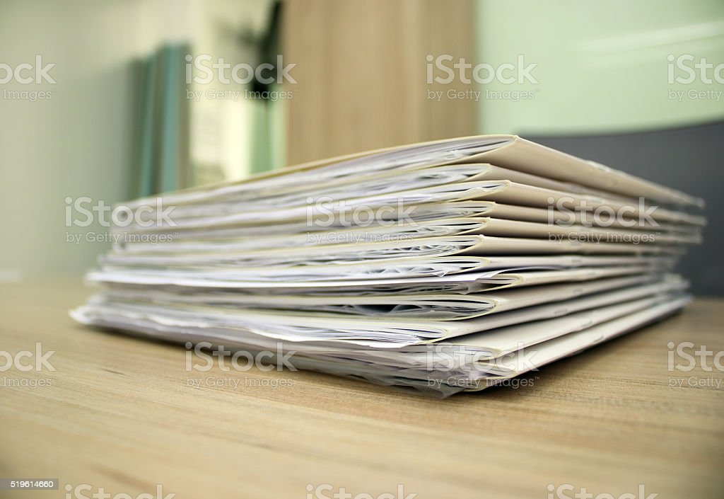 Paperworks in doctor's office stock photo
