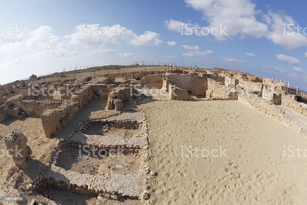 Paphos archaeological site fish eye view  ancient roman ruins Cyprus royalty-free stock photo
