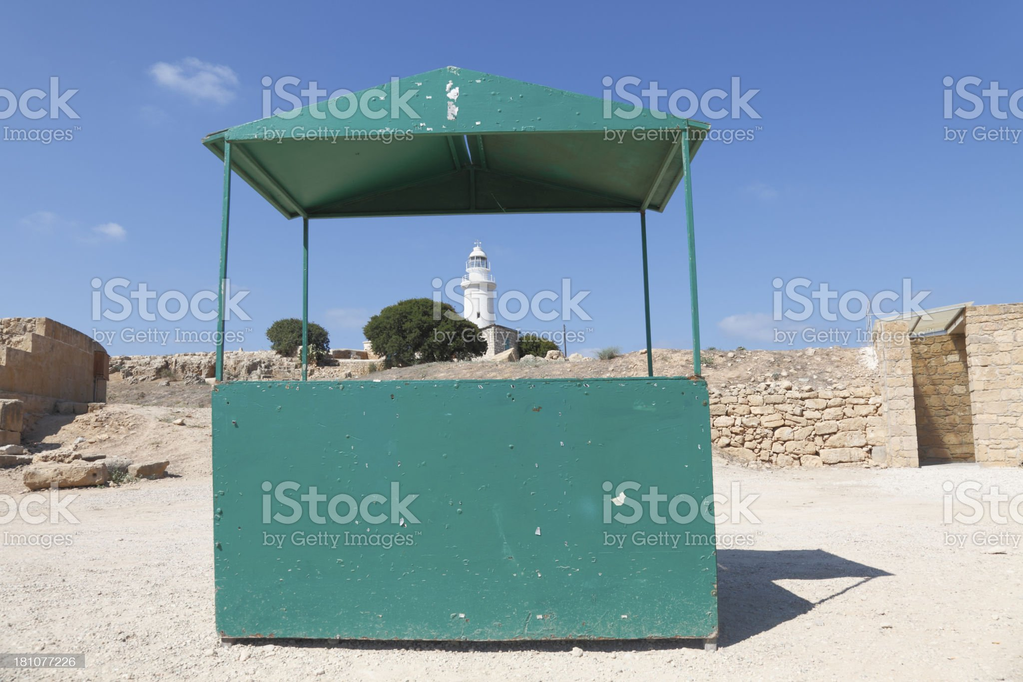 Paphos archeological site empty green information booth  Cyprus royalty-free stock photo