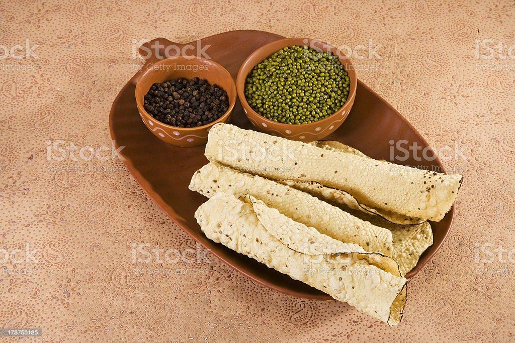 Pappadams with Ingredient stock photo