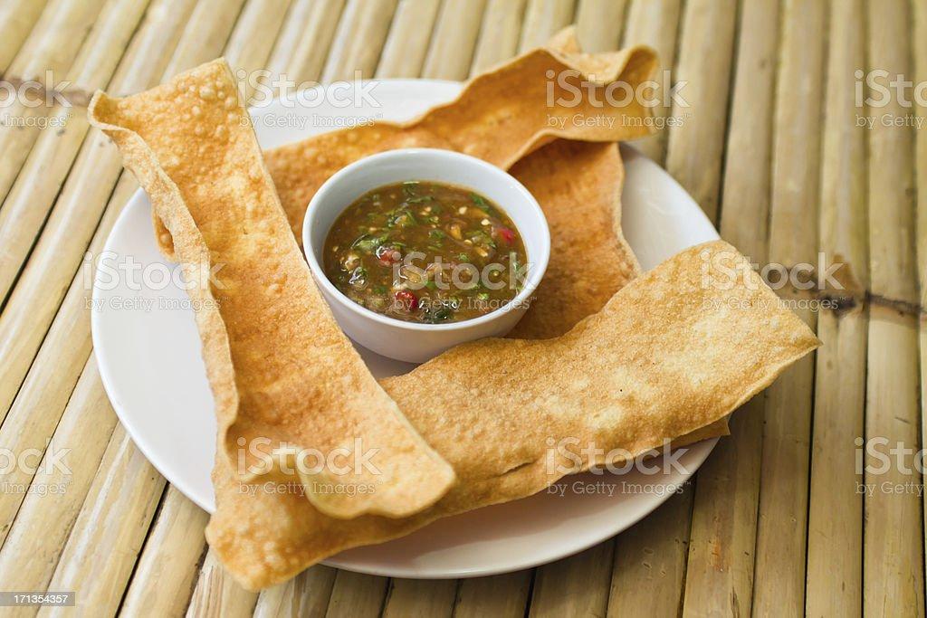 Pappadoms with Sauce stock photo
