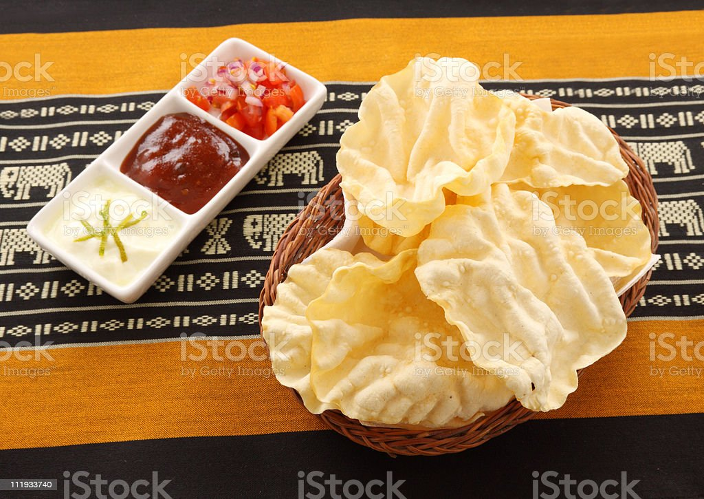 Pappadums And Condiments stock photo
