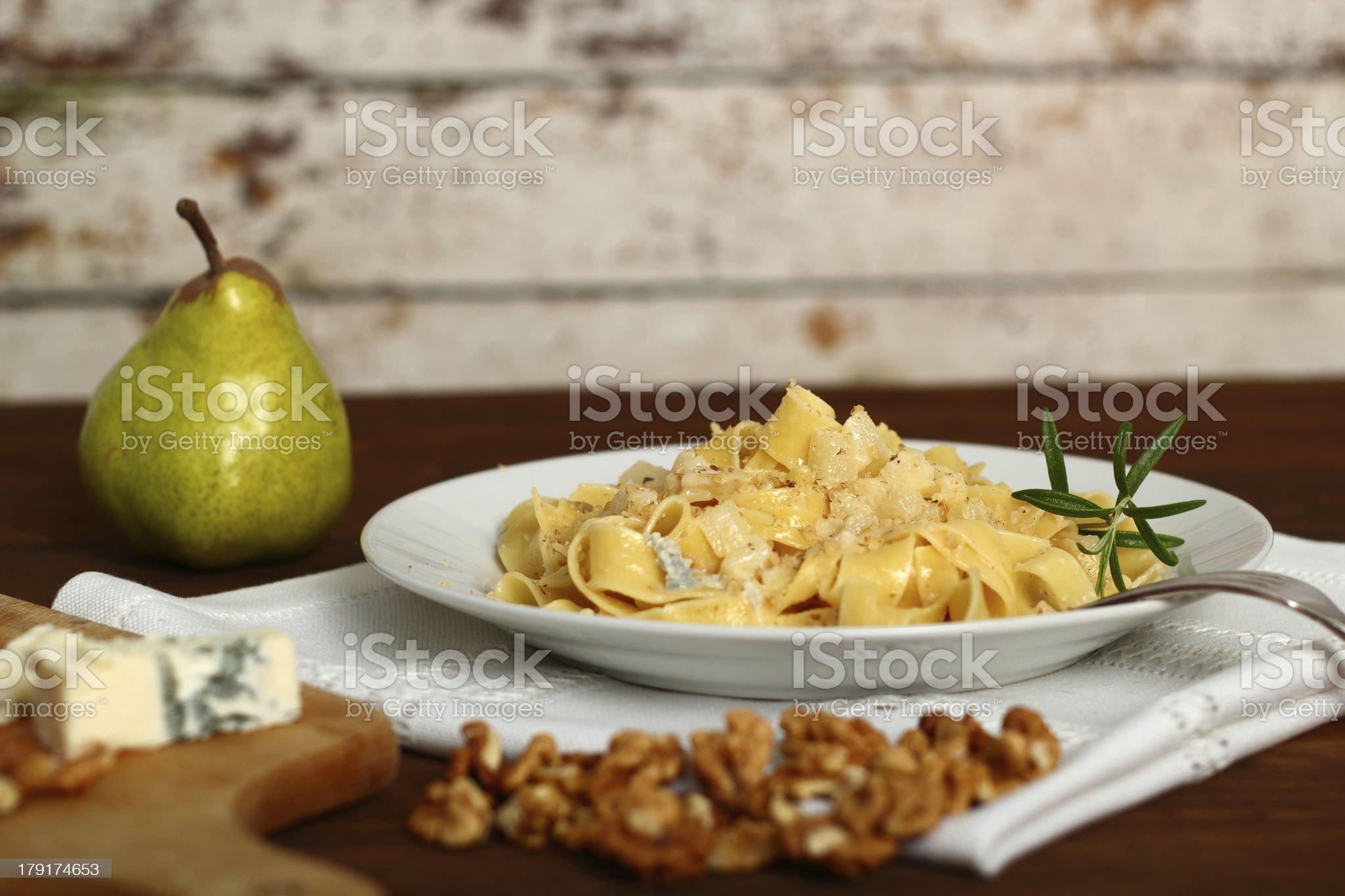 Pappardelle al Gorgonzola. Pasta (Fettuccine) with gorgonzola, p royalty-free stock photo