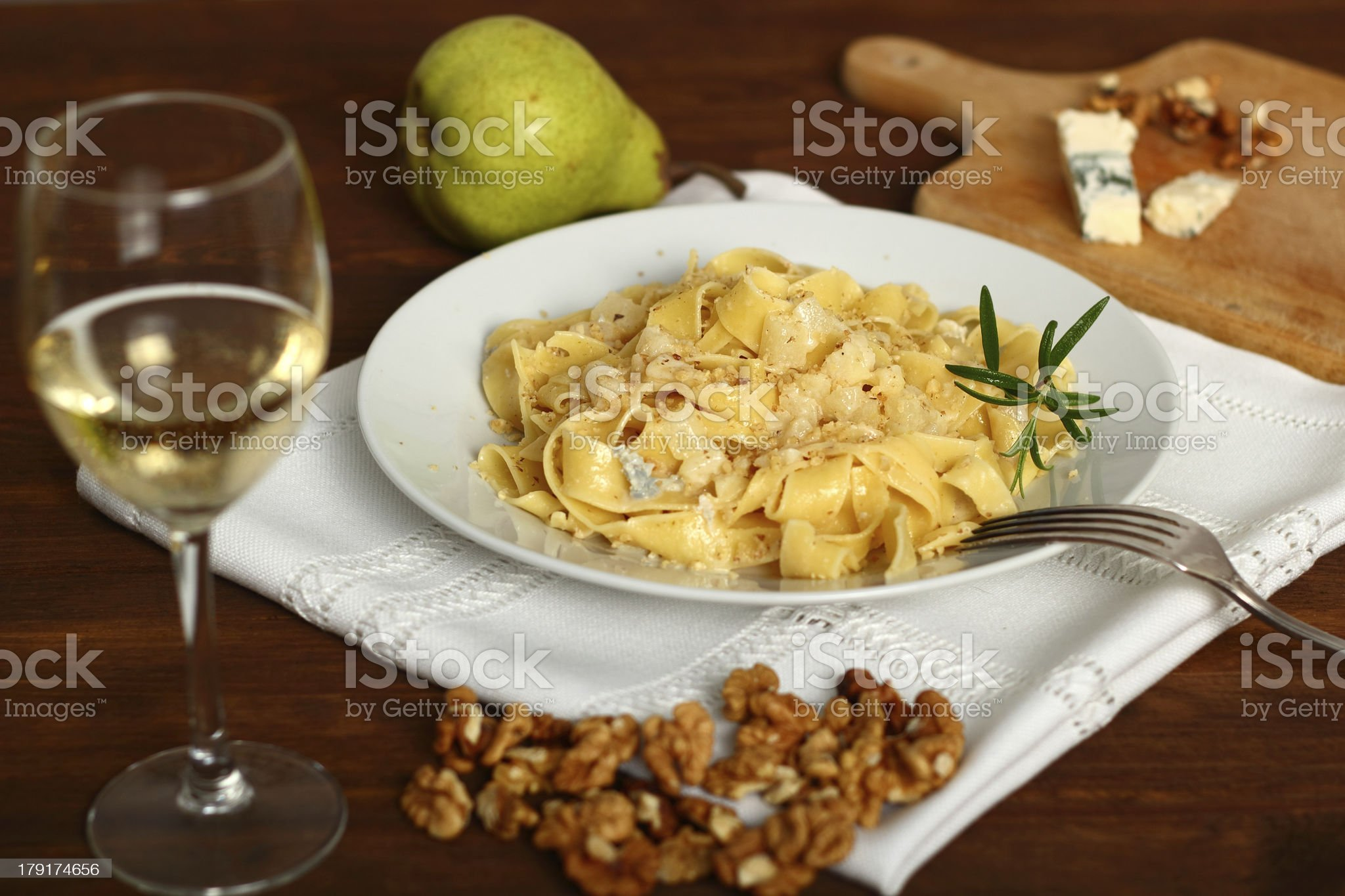 Pappardelle al Gorgonzola. Pasta (Fettuccine) with gorgonzola, p royalty-free stock photo