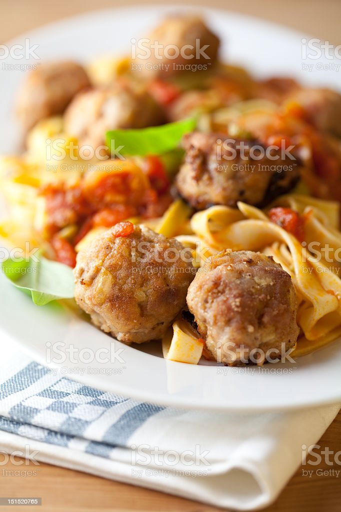 Pappardelle pasta with meatballs stock photo