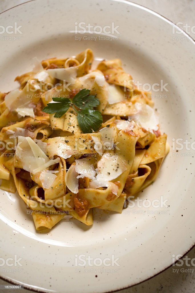 Pappardelle with bolognese sauce stock photo