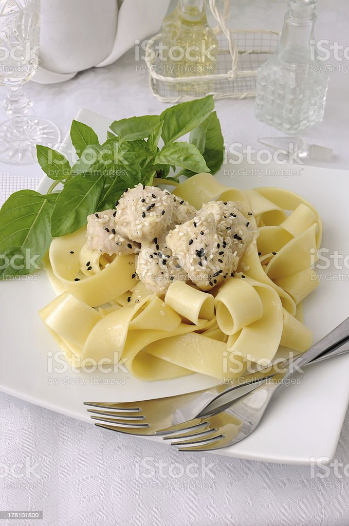 Pappardelle with chicken fillet in a creamy sauce royalty-free stock photo