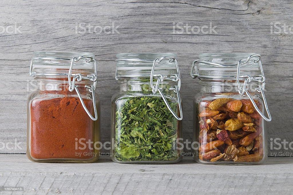 Paprika, parsley and chilli. stock photo