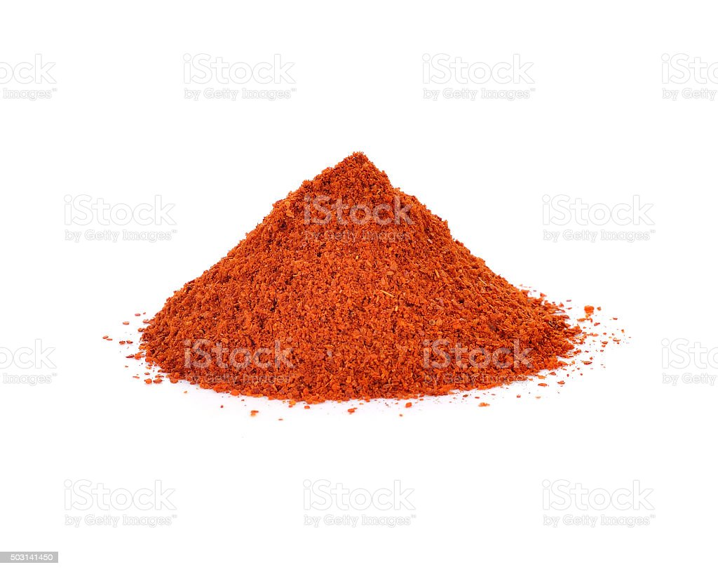 paprika powder isolated on white stock photo