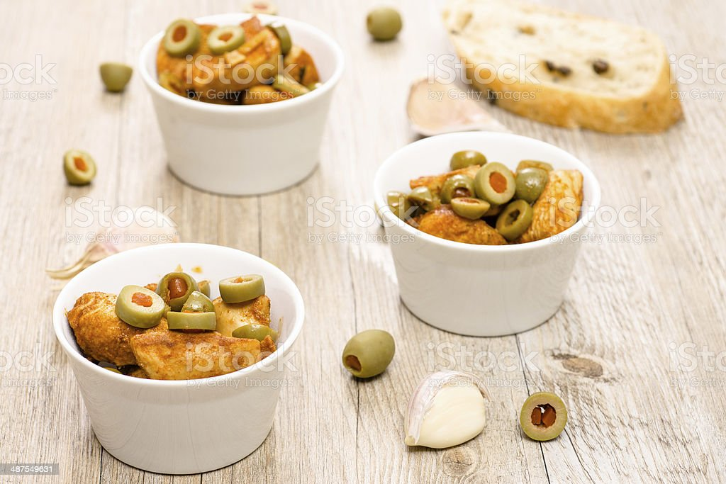 Paprika roasted chicken breast with olives stock photo