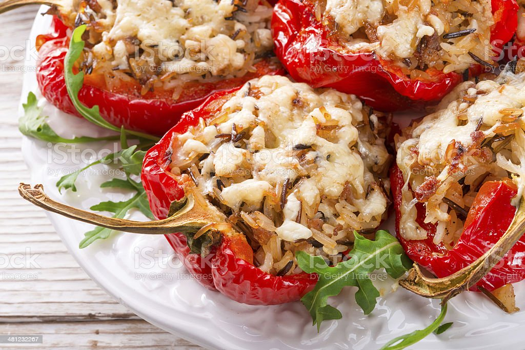paprika with rice fullly stock photo