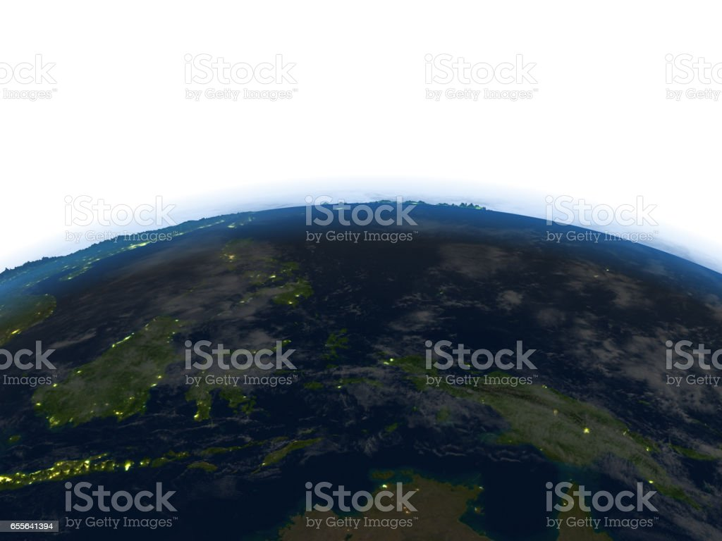 Papua at night on planet Earth stock photo
