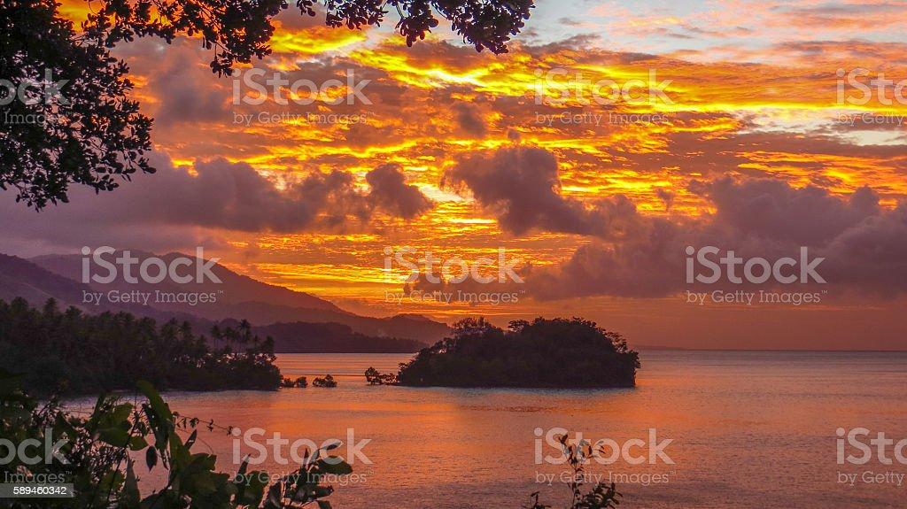 Papua New Guinea Sunset at Tawali stock photo
