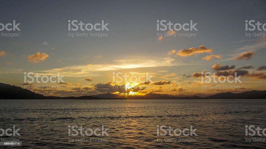 Papua New Guinea Sunset stock photo