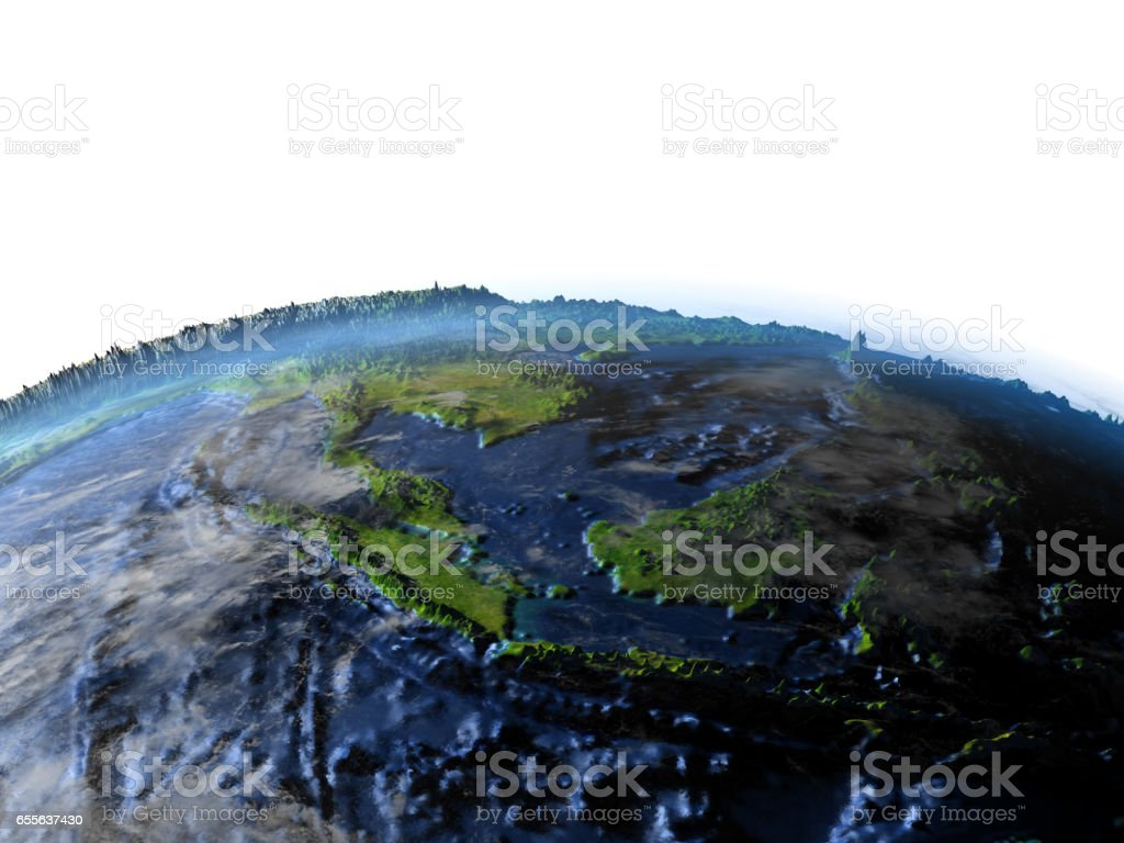 Papua on Earth - visible ocean floor stock photo