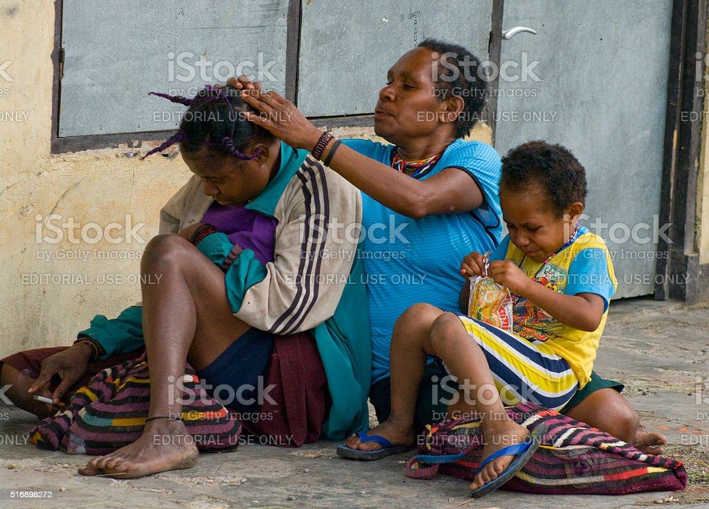 papua people  in Wamena at New Guinea Island. stock photo
