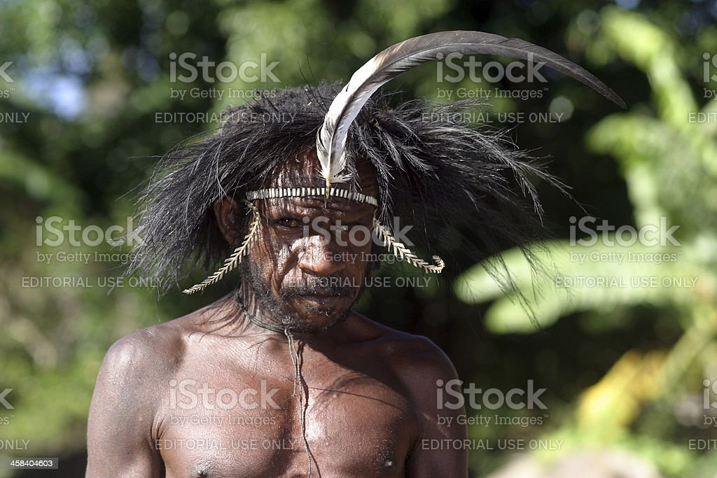 Papuan man in traditional attire. stock photo