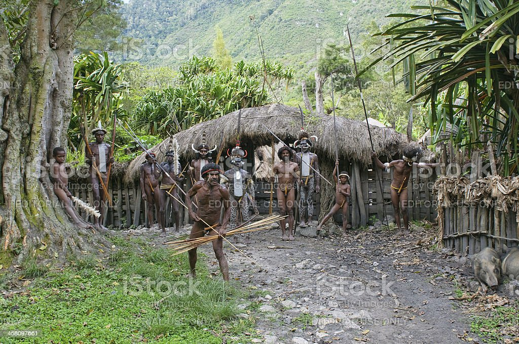 Papuan people in the village, Wamena, Papua, Indonesia stock photo