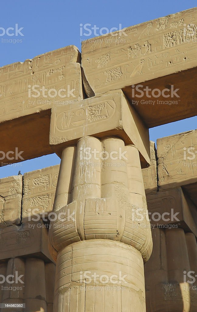 Papyrus column in Luxor temple, Egypt royalty-free stock photo