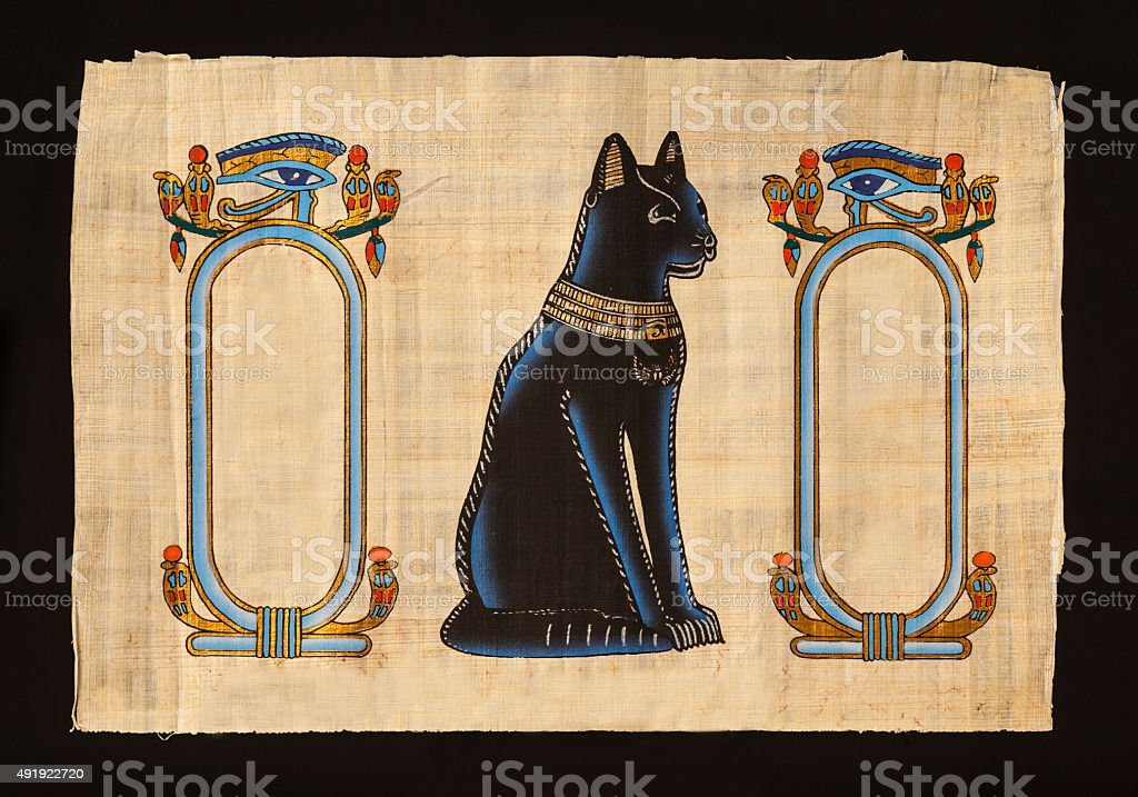 Papyrus with elements of egyptian ancient history stock photo