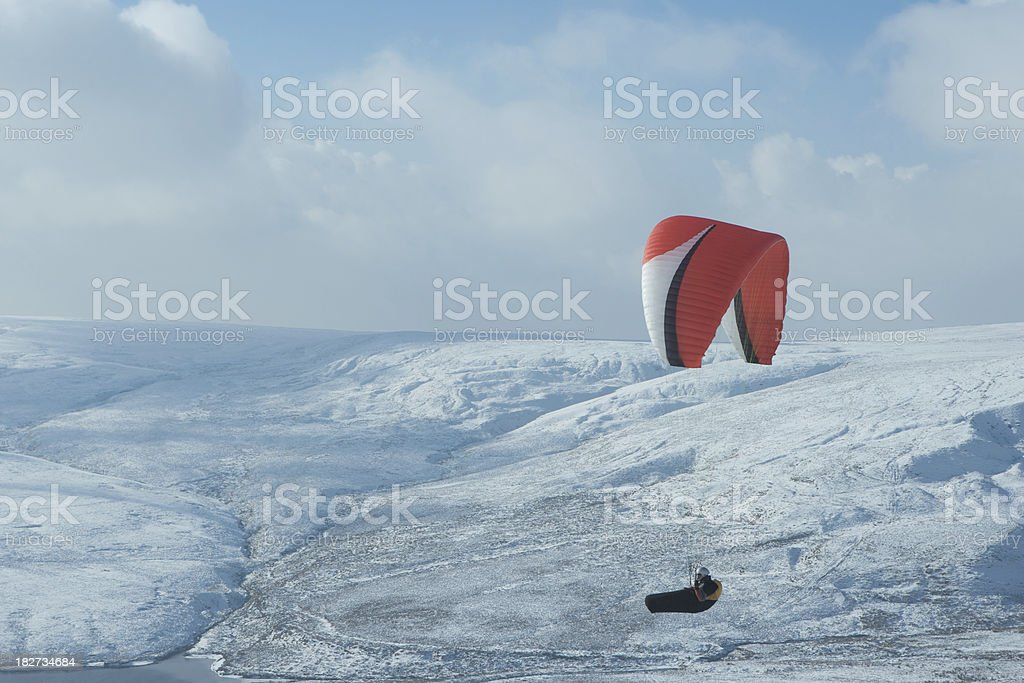 Para Gliding in snowy Colne Valley, West Yorkshire stock photo