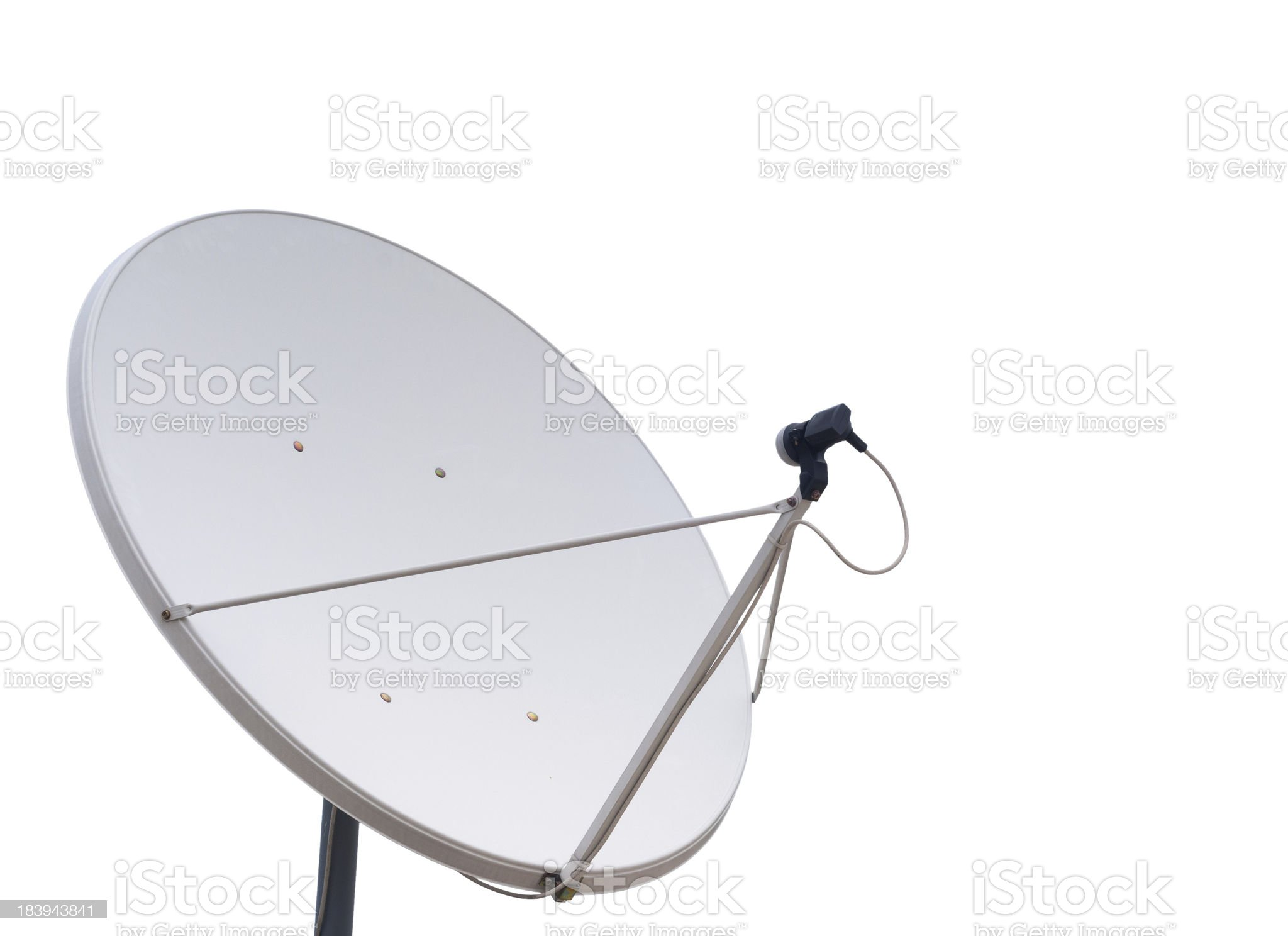 parabolic communication antenna isolated on white background royalty-free stock photo