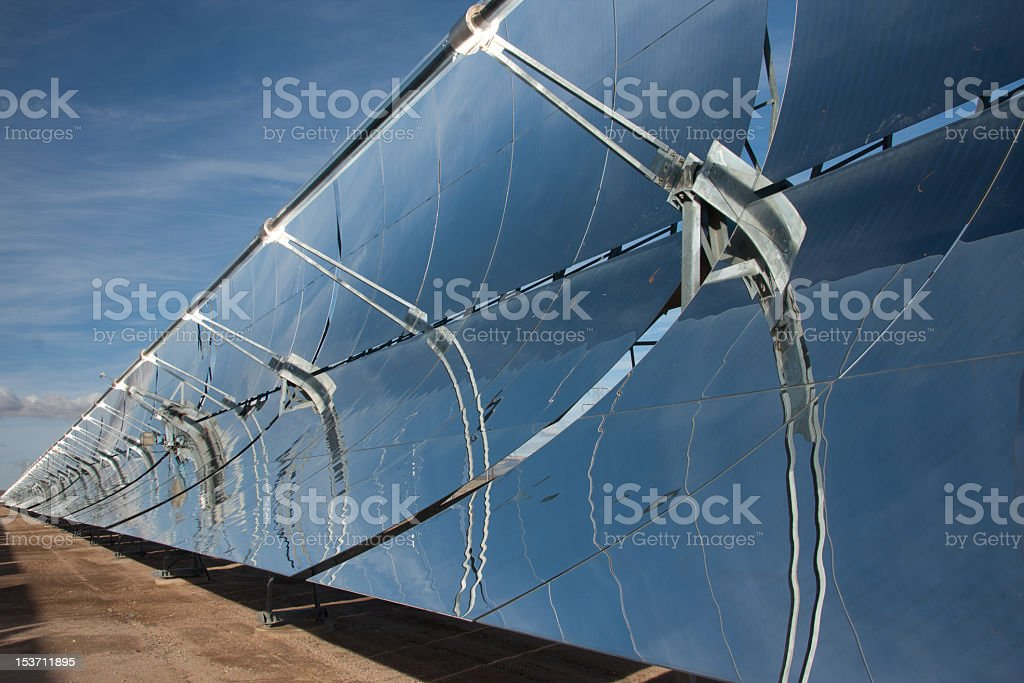 A parabolic mirror with the view of the sky  stock photo