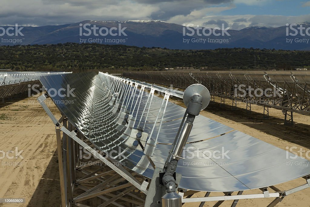 Parabolic solar trough collector CSP stock photo