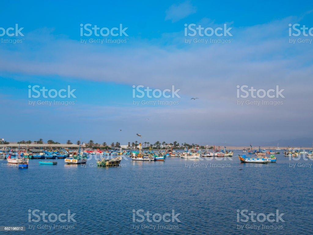 Paracas port of Peru early in the morning stock photo