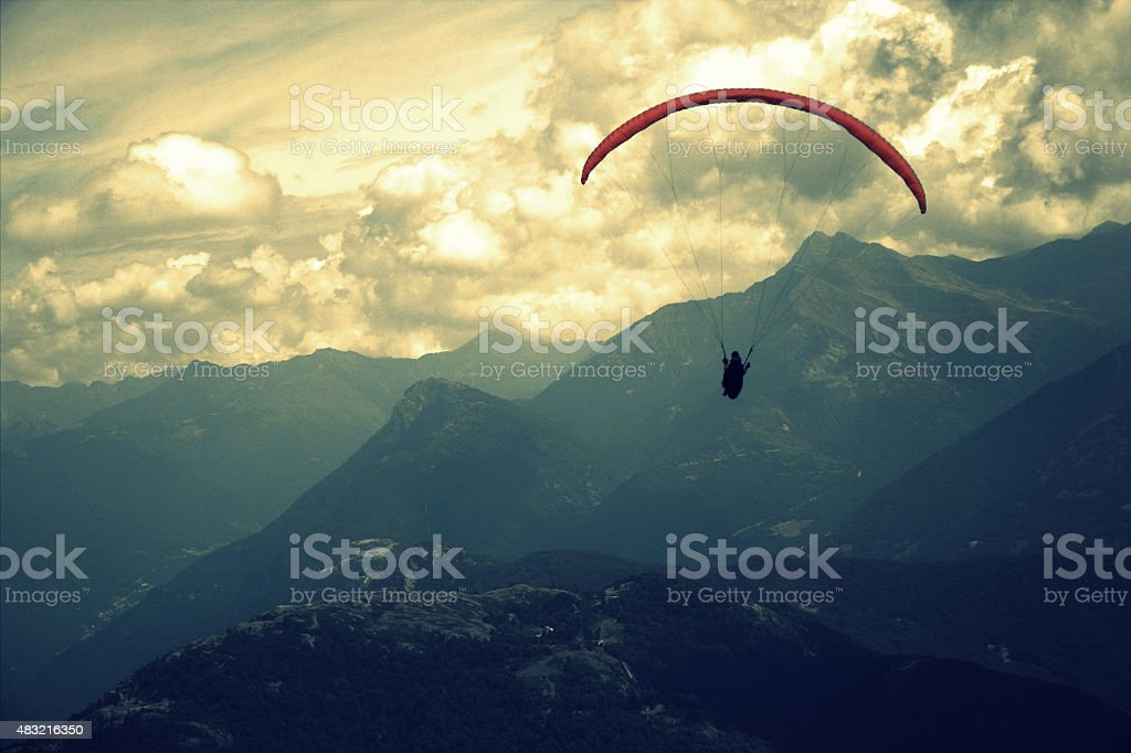 parachute high in the mountains stock photo
