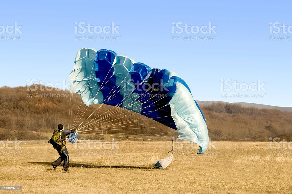 parachute landed stock photo