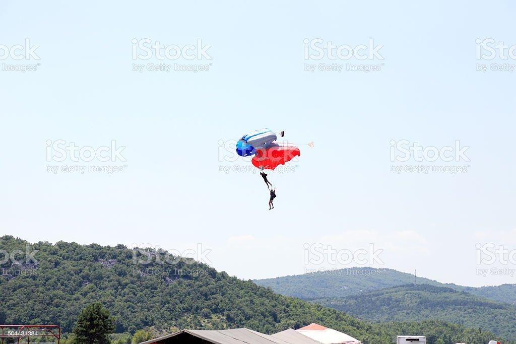 Parachute stunt stock photo