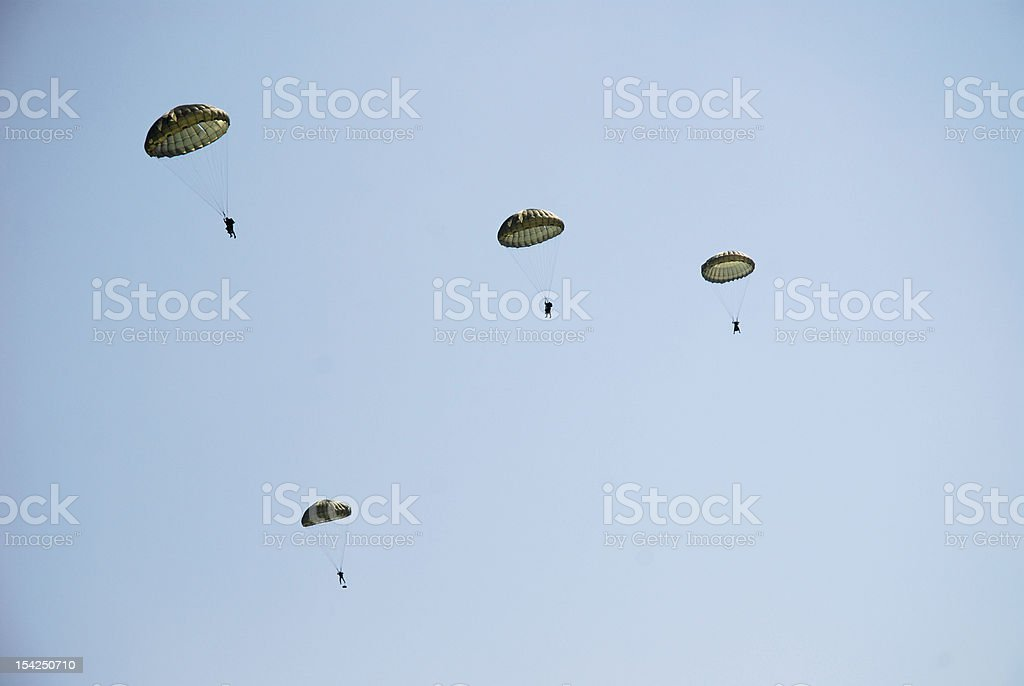 Parachute troopers royalty-free stock photo