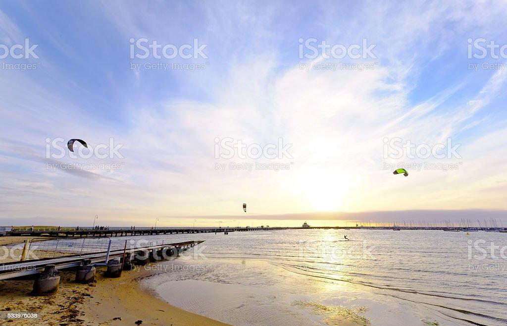 Parachute water sport stock photo