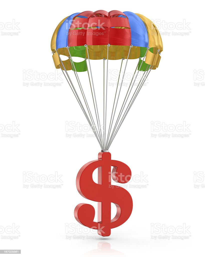 Parachute with Dollar royalty-free stock photo