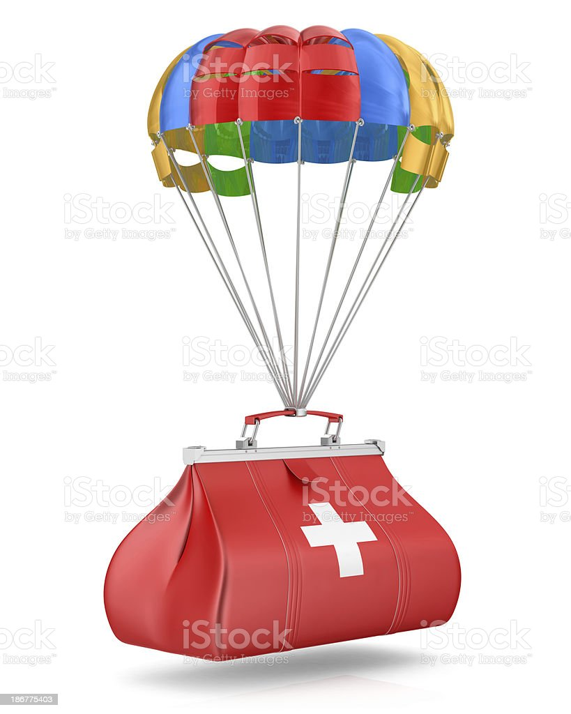 Parachute with Medical Bag stock photo